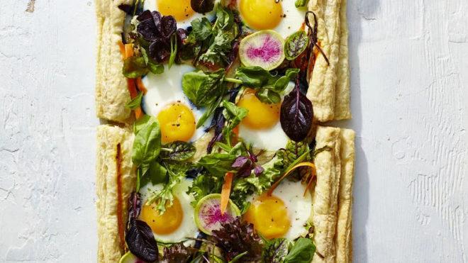 Eggs in a Garden Breakfast Tart