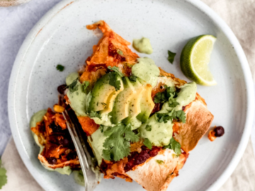 Sweet Potato Black Bean Enchiladas with Avocado Lime Crema